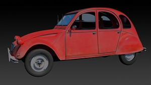 A rendering of a Citroen 2CV
